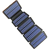 Solar Charger 25000mAh, 5 Solar Panel QI Wireless Outdoor Portable Power Bank - Waterproof Fast Charge External Battery Pack with...