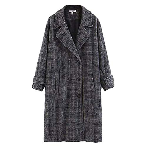 NXLWXN dames revers lange trenchcoat geruit mantel gewatteerde mantel plaid casual lange mouwen