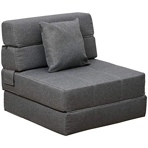 HOMCOM Schlafsessel Schlafsofa Sofabett Einzelsofa mit Waschbarem Kissen Grau 70cm x 70cm x 61cm