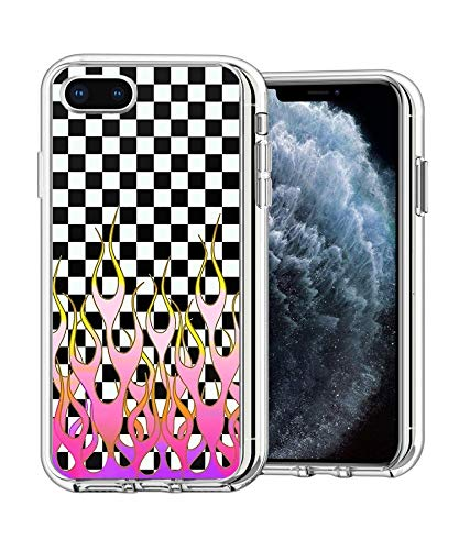 Eastoa Pure Clear Anti-Scratch Motion for iPhone 11 Pro Max 6.5' Cover Checkered Purple and Pink Flame