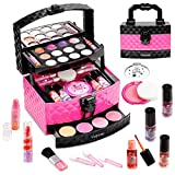 Vextronic Girl Makeup Toy Set 30 Pcs Washable Kids Makeup Kit for Girls, Pretend Play Makeup Kit for Kids, Non-Toxic, Real Cosmetic Toy Beauty Set for Kids Birthday Gift