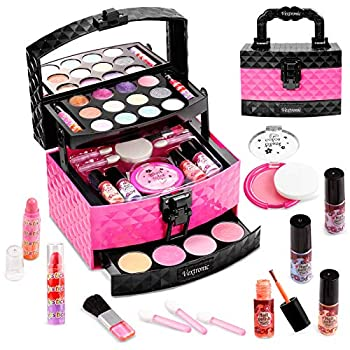 Vextronic Girl Makeup Toy Set 30 Pcs Washable Kids Makeup Kit for Girls Pretend Play Makeup Kit for Kids Non-Toxic Real Cosmetic Toy Beauty Set for Kids Birthday Gift