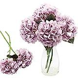 CattleyaHQ 4 teste di fiori di ortensia artificiali, Elegante bouquet di ortensie,Decorazione di fiori finti per feste / matrimoni / casa / cucina (Viola)