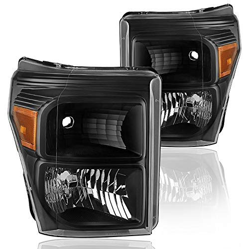 BRYGHT Headlight Assembly for 2011-2015 Ford F-250 F-350 F-450 F-550 Super Duty OEM Style Replacement Headlamp with Smoked Black Housing Amber Reflector Left and Right Side Driving Light (Black)