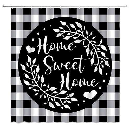 Feierman Home Sweet Home Duschvorhang Schwarz Weiß Büffel Karo Bauernhaus Polyester Badezimmer Stoff Gardinen mit Haken