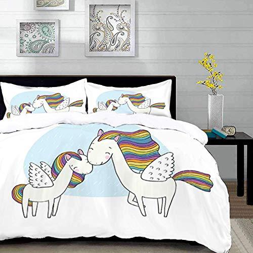 ropa de cama - Juego de funda nórdica, Unicornio, Caballos Pegasus con crines en colores arcoíris y alas Sweet Mythological Kids Tale, Mult, Juego de funda nórdica de microfibra con 2 Funda de almohad