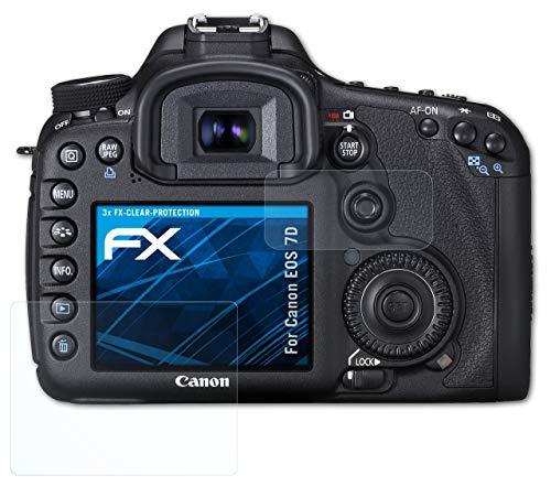 atFoliX Schutzfolie kompatibel mit Canon EOS 7D Folie, ultraklare FX Displayschutzfolie (3er Set)