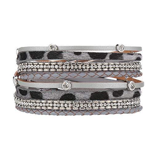 VONRU Leather Cuff Bracelets for Women - Wrap Bracelet Charm Boho Jewelry for Women Handmade Casual Braided Magnetic Bracelet Friendship Gift for Teen Girls (Grey Leopard Crystal Bracelet)