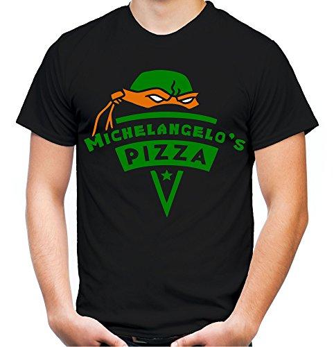 Michelangelo's Pizza Männer und Herren T-Shirt | Teenage Mutant Ninja Turtles Splinter Fun (3XL, Schwarz)