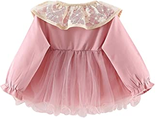 Baptism Gifts for Baby Girl,Toddler Baby Kid Girls Ruffles Lace Tulle Patchwork Solid Casual Dresses Clothes