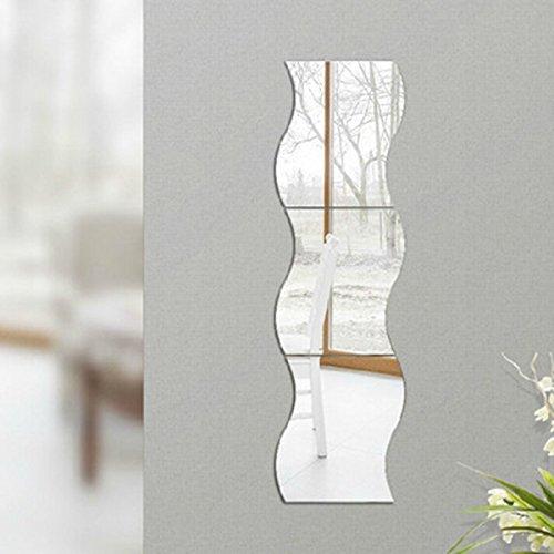 Sharplace 6er-Set Silber Wellen Spiegel Aufkleber Spiegelaufkleber Wandaufkleber-Deko