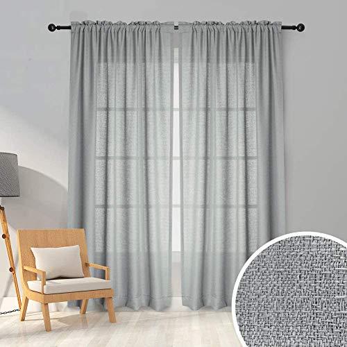 Carvapet Voile Gardinen Schals Transparenter Vorhänge mit Kräuselband in Leinen Optik für Wohnzimmer Schlafzimmer 245 x 140 cm Grau