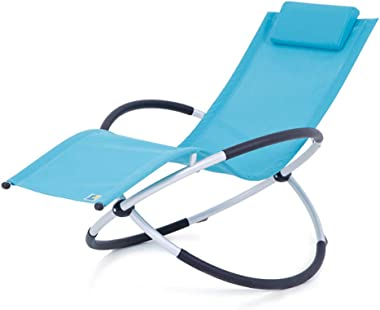 shcc Outdoor Foldable Rocking Chair, Rocker Lounger Garden Chair,Lightweight and Sturdy Aluminum, Easy Storage, Patio Leisure