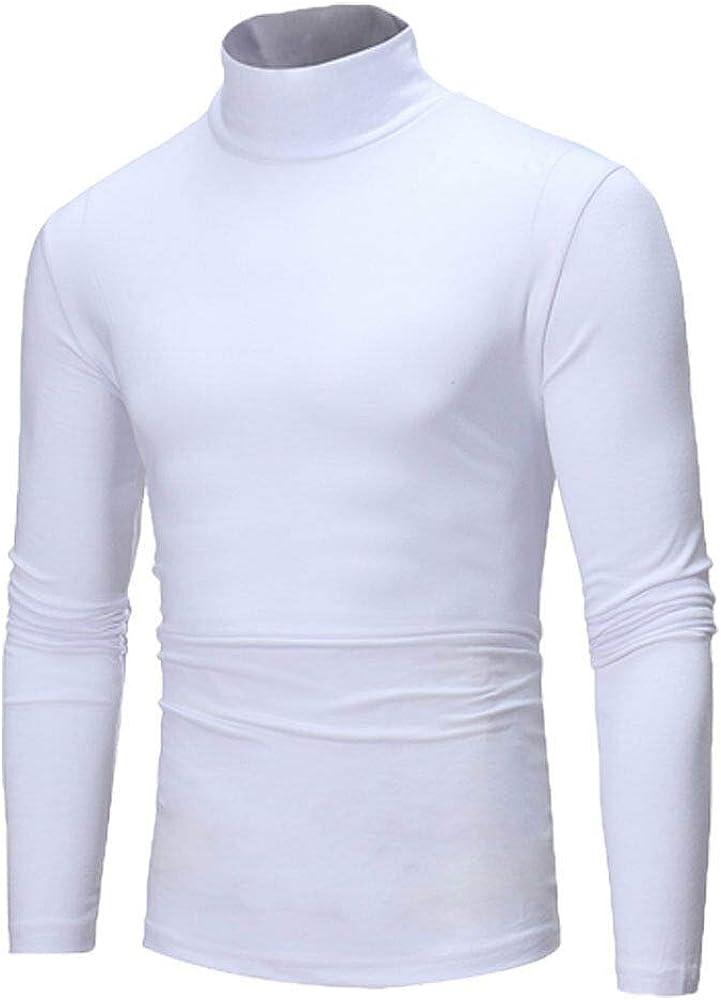 White - Men's Winter Pullover Jumper Sweater Warm Cotton High Neck Turtleneck Tops