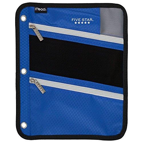 Five Star Zipper Pouch, Pencil Pouch, Pen Holder, Fits 3 Ring Binders, Cobalt Blue / Black (50642BC7)