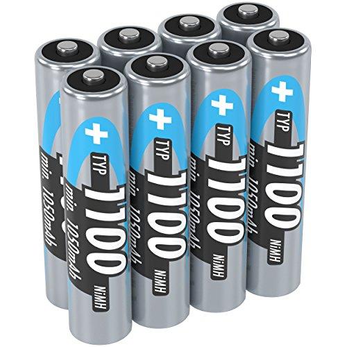 ANSMANN Akku AAA Typ 1100 mAh (min. 1050 mAh) NiMH 1,2 V (8 Stück) - Micro AAA Batterien wiederaufladbar, hohe Kapazität für hohen Strombedarf