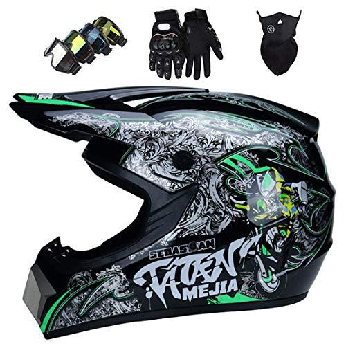 Casco de motocicleta todoterreno, Casco MTB integral para jóvenes Casco de motocross Downhill ATV MX Bike Scooter con gafas, guantes, máscara Certificación ECE & DOT, Negro