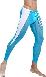 qianqianq Mens Compression Baselayer-Pants Cool Dry Leisure See-Through Legging
