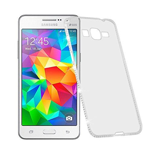 Cadorabo Funda para Samsung Galaxy Grand Prime Funda de Silicona TPU Cristal en Blanco – Cubierta Protectora Super Delgada e Flexible con Antichoque – Gel Case Cover Carcasa Protección Ligera