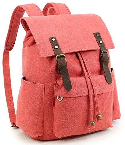 Crest Design Vintage Canvas Laptop Backpack School Bag Hiking Travel Rucksack 25L (Red)