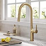 Kraus KPF-3101BG Oletto Modern Pull-Down Single Handle Kitchen Faucet, 19.5 inch, Brushed Gold