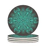 Wraill - Sottobicchieri rotondi in ceramica color turchese, set da 4/6 pezzi, in porcellana, con decorazioni in sughero, per casa, cucina, ufficio, bianco, 4 pezzi