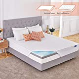 Sweetnight 4 Inch Queen Size Mattress Topper with Waterproof Mattress Protector, Memory Foam Topper Infused Gel & Bamboo Charcoal, Cooling & Supportive, Plus 4 Bed Sheet Holder Straps, Medium Firm