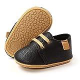Zapatos de bebé niño PU Casuales Oxford con Cordones Fondo Suave Antideslizante Primeros Zapatos para Caminar para bebés
