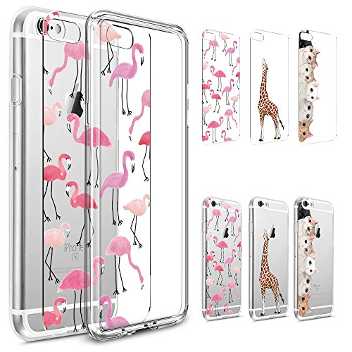 iPhone 7 Plus Case, PHEZEN [3-Pack] Cute Flamingo Giraffe Cat Art Pattern Paper with 1 Pc Crystal Clear Bumper TPU Soft Case Rubber Silicone Skin Cover for iPhone 7 Plus