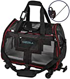 Katziela Airline Approved Pet Carrier - Rolling Portable Travel Carry Crate for Small Dog, Puppy or Cat - Soft Removable Wheeled Design with Mesh Window Sides - Airplane and TSA Compliant (Red)