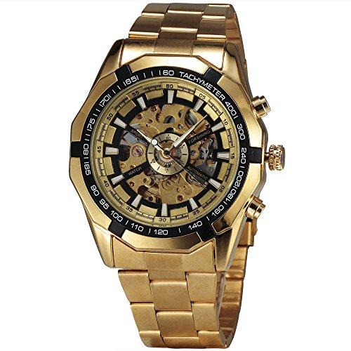 WINNER Reloj de pulsera mecánico para hombre, chapado en oro, correa de acero inoxidable, tacómetro y esqueleto