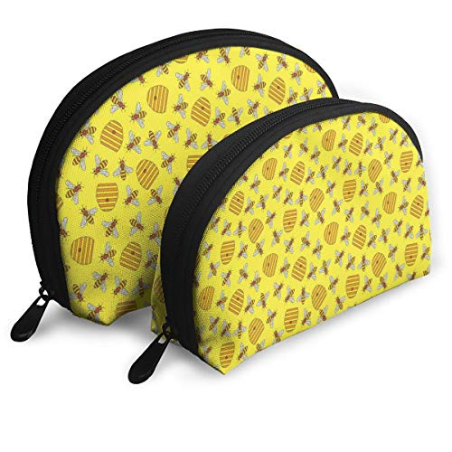 Shell Shape Makeup Bag Set Portable Purse Travel Cosmetic Pouch,Beekeeping Beeswax Vespiary Concept Print With Bees And Honeycombs In Nature Elements,Women Toiletry Clutch