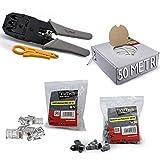 Cool Toner Juego de alicates de engaste con cable de internet, enchufes modulares y cubiertas de goma50M (Kit para fijación de cable)
