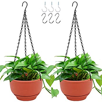 GROWNEER 2 Packs 8 Inches Plastic Hanging Planter Self Watering Basket with 6 Pcs Hooks Hanging Flower Pot with Detachable Base for Garden Indoor Outdoor Home Decoration  Terracotta Color