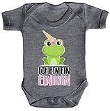 ShirtStreet süße Geschenkidee Unicorn Eis Ice Cream Strampler Bio Baumwoll Baby Body kurzarm Jungen Mädchen Frosch - Ich bin ein Einhorn, Größe: 0-3 Monate,Heather Grey Melange