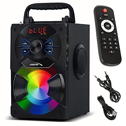 Audiocore AC730 Altavoz Bluetooth Portátil Altavoz Inalámbrico con Potencia de Salida de 11 W/Radio/SD/MMC/AUX-In/USB/Iluminación/Control Remoto/Antena Telescópica/Entrada de Micrófono/Asa