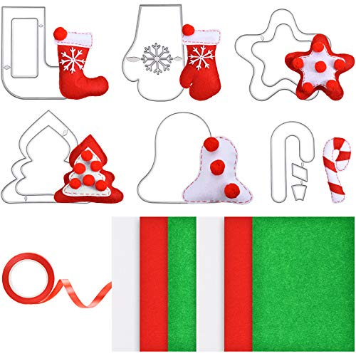 19 Pieces Christmas Ornament Cutting Dies DIY Kit Includes Felt Sheets Christmas Tree Ornament Metal Stencils for Christmas DIY Crafts Favors