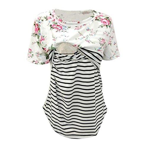 Meedot Frauen T Shirt Schwangerschaft zum Stillen Shirt Bequeme Casual Tops Fashion T Shirt Stillen Bluse Elegant White M