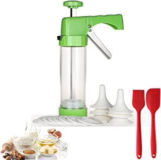 Household Cookie Press Gun Machine,Cookie Extruder with 16 Discs &6 Icing Tips, Come with Silicone Basting Cake Butter Scraper&Brush