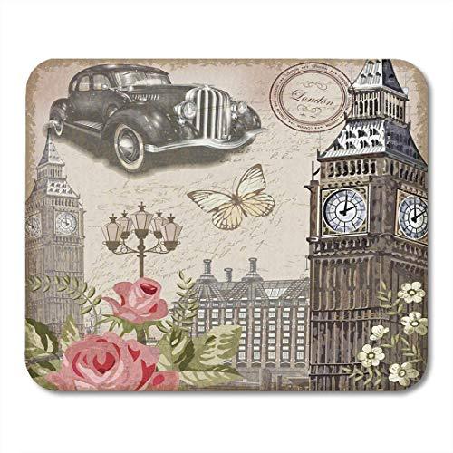 Alfombrillas para ratón Alfombrillas para ratón Flor Londres Vintage collages Auto Coche Alfombrilla de ratón Antigua para portátiles, Alfombrillas de ratón para Ordenadores de Escritorio
