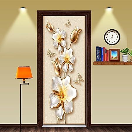Flfk 3d Self Adhesive Bedroom Door Murals Sunset Tropical Wall Stickers Wallpaper 30 3x78 7 Inch Kitchen Dining