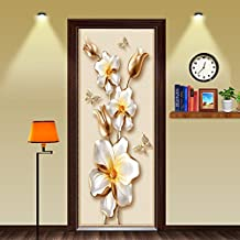 MISSSIXTY 3D Golden Flower Door Wall Mural Wallpaper Stickers Vinyl Removable Decals for Home Decoration 30.3