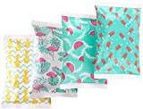 Ice Pack for Lunch Boxes - 4 Reusable Packs - Trendy Prints - Keeps Food Cold – Cool Print Bag Designs - Great for Kids or Adults Lunchbox and Cooler…
