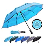 HOSA Auto Open Close Compact Portable Lightweight Travel | Night Safety Reflective Strip | Windproof Waterproof UV Protection Umbrella | for Raining Sunny Days Night Time Use (Water Blue 46-inch)