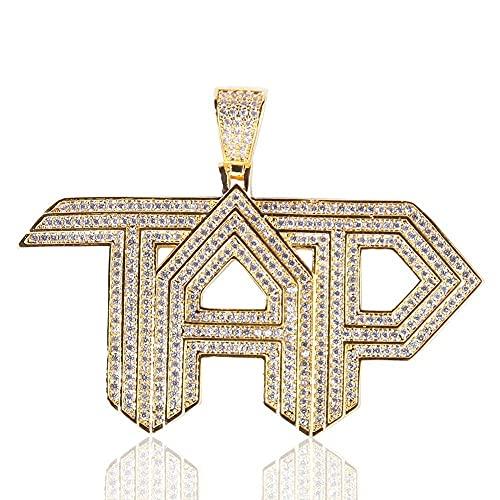 Collares,Hip Hop piedra blanca hormigón Bling helado grifo alfabeto letra colgante collar para hombres joyería Raper Color oro