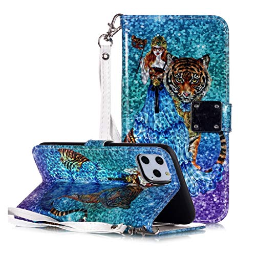 KIOKIOIPO-N Mode Magic 3D Helle farbige Zeichnung Muster Horizontal Flip PU-Leder-Kasten mit Halter & Card Slots & Wallet & Photo Frame for iPhone XIR (2019) (Pattern : Beauty and Tiger)