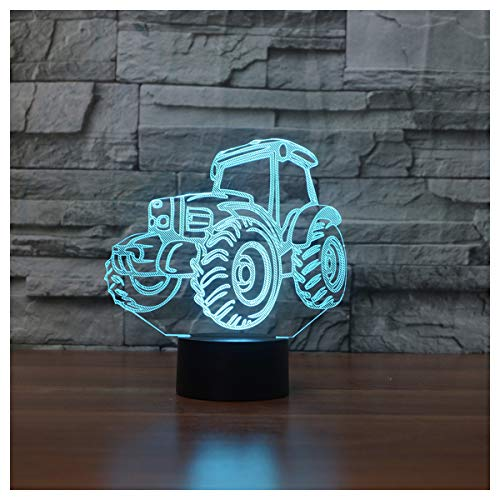 3D Illusion Lampe LED Nachtlicht, EASEHOME Optische 3D-Illusions-Lampen Tischlampe Nachtlichter 7 Farben Berührungsschalter Schreibtischlampe mit 150cm USB-Kabel Kinder Nachtlampe, Traktor