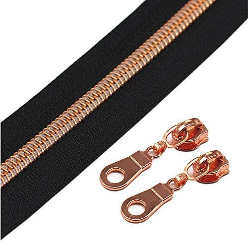 YaHoGa 9 m rosegoldfarbene endlos Reißverschluss Meterware Schwarze Reissverschluss 6mm-Spirale + 25 Nonlock-Zipper (rosegoldfarbene Schwarze)