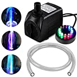 PULACO 10Watt 160 GPH Submersible Fountain Pump wiht LED Light for Water Feature,Outdoor Pond, Small Pools, Aquarium Fish Tanks, Indoor Fountain Pumps, Home Décor Fountain