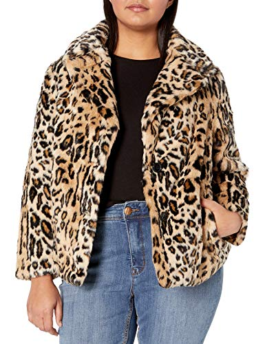 Jessica Simpson Damen Steele Coat Jacke, Leopard, 2X